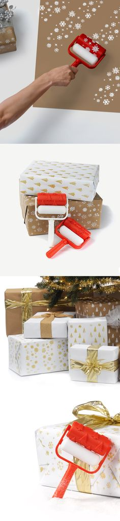 3D Printed Christmas Gift Wrap Paint Rollers by Matthijs Kok
