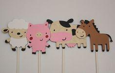 Handmade Farm Animal Cupcake Toppers – 12 Farm Animals: 3 each Pig, Cow, Sheep & Horse – Farm Birthday Party Theme – Kids Party Decoration