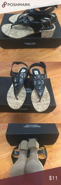 New Simply Vera Wang sandals . Very beautiful and comfortable sandals . I only tried on but never worn . Too small for me after pregnancy.  Purchased at Kohl's . Simply Vera Vera Wang Shoes Sandals