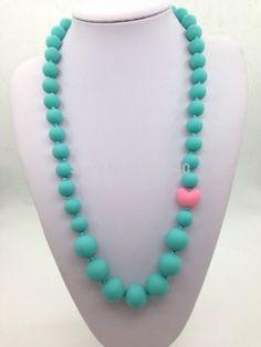 BPA Silicone Teeth Necklaces Silicone Teething Beads  silicone pearl necklaces with heart beads for teething, nursing