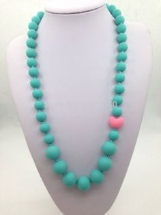 BPA Silicone Teeth Necklaces Silicone Teething Beads  silicone pearl necklaces with heart beads for teething, nursing