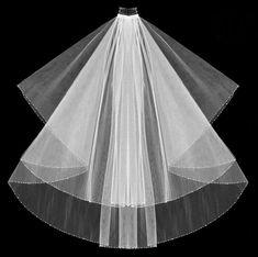Crystal Beaded Wedding Veil Two Layer Bridal Veil Fingertip   Etsy Simple Wedding Veil, Wedding Veils, Wedding Dress, Floor Length Veil, Light Scattering, Metal Comb, Swarovski Crystal Beads, Bugle Beads, Seed Beads