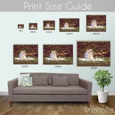 Print Size Guide-- good idea to put on website or to show clients