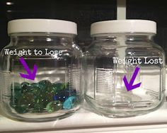 Weight Loss Jar. Stones represent how much you want to lose. Move a stone to the other jar for every pound you lose! The goal is to get them all in the empty jar!