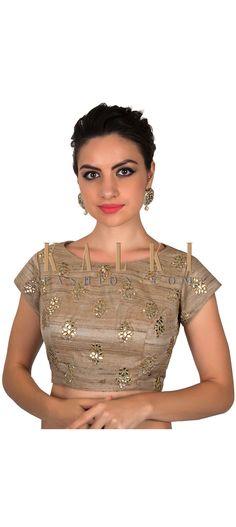 Beige blouse in gotta patch butti only on Kalki