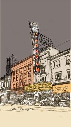 Urban Sketch by ? Urban Architecture, Architecture Drawings, City Sketch, Sketch Inspiration, Urban Sketchers, Monochrom, Urban Landscape, Art Plastique, Art Sketchbook