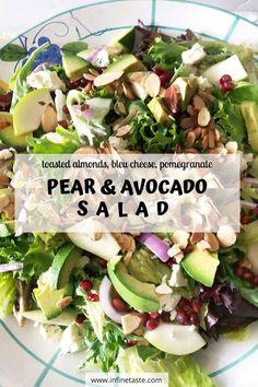 Winter Salad Recipes, Avocado Salad Recipes, Pomegranate Salad, Pear Salad, Toasted Almonds, Sliced Almonds, Salad Topping, Fruit Salads, Best Appetizers