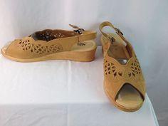 Womens Spring Step Peep Toe Leather Sling Back Sandal Sz 42 Euro 10.5 - 11 US…