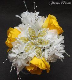 Beaded Flower Bridemaids Wedding Bouquet by Glorious Beads