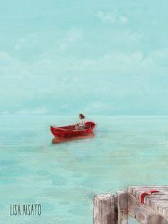 Ro | Lisa Aisato - nettbutikk Dream Art, Lisa, Waves, Boat, Prints, Painting, Outdoor, Illustrations, Inspiration