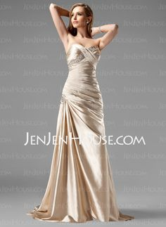 Sheath Sweetheart Sweep Train Charmeuse Prom Dress With Ruffle Beading Sequins (018004806) - JenJenHouse