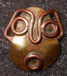 ButtonArtMuseum.com - Antique Hand Made Arts & Crafts Brass & Copper Primitive Mask Button   eBay