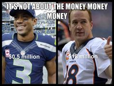 Awesome Superbowl 48 The difference in salaries is astonishing.but Seahawks won! I anticipate that RW's salary will increase significantly. Seahawks Football, Football Is Life, Seattle Seahawks, Funny Football Memes, Russell Wilson, 12th Man, Sports Humor, Champs, Laugh Out Loud