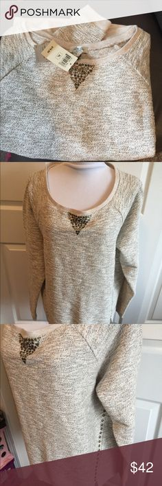 NWT Lucky Sweater Top XL Gorgeous holiday sparkle studded sweater top Size. XL Lucky Brand Sweaters