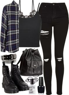 Requested outfit by ferned featuring a ribbed tank Topshop navy top, 76 AUD / Topshop ribbed tank, 10 AUD / Hanky Panky lacy lingerie, 54 AUD / Topshop ripped skinny jeans, 77 AUD / Dr. Martens black shoes, 110 AUD / H M draw string bag, 29 AUD /...