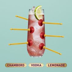 To make a Chambord Vodka Lemonade, pour the Chambord (1oz), vodka (1oz) and lemonade into a long glass filled with ice. Add a lemon wedge and voila, your tongue is happy.