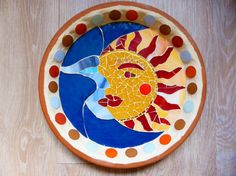 Sun and Moon birdbath mosaic by JustineMosaics on Etsy