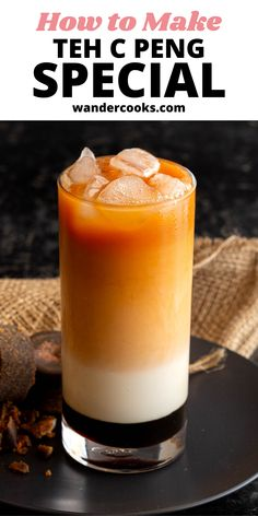 The popular Malaysian Teh C Peng Special recipe is here! This stunning 3 layer tea is icy and sweet, ready to cool you down on a hot day. Made from gula melaka syrup, evaporated milk and strong black tea – yum. Evaporated Milk, New Flavour, Special Recipes, International Recipes, Syrup, Good Food, Layers, Strong, Popular