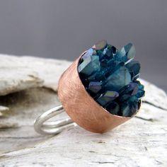 Aqua Aura Quartz Points Copper & Silver Ring