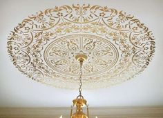 Stenciled ceiling medallion - paint on architecture