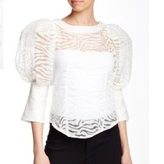"""Zebra Print Sheer Puff Sleeve blouse -Crew neck; Bishop elbow sleeves; Back button closure; Burnout sheer design;Banded trim; Curved hem; Approx. 22.5"""" length; Imported; Fiber Content:; 100% polyester Care: Hand wash cold; Additional Info: Fit: this style fits true to size. Model is wearing size S. Gracia Tops Blouses"""