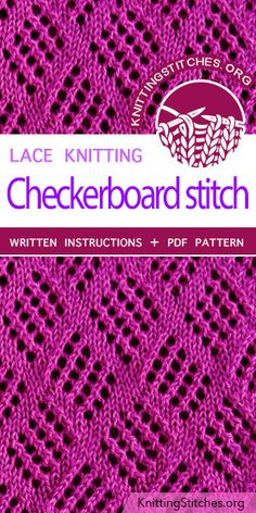 Checkerboard Stitch Pattern is found in the Eyelet and Lace Stitches category.Checkerboard Stitch Pattern is found in the Eyelet and Lace Stitches category. Lace Knitting Patterns, Knitting Stiches, Knitting Blogs, Lace Patterns, Easy Knitting, Loom Knitting, Stitch Patterns, Crochet Pattern, Knitting Sweaters