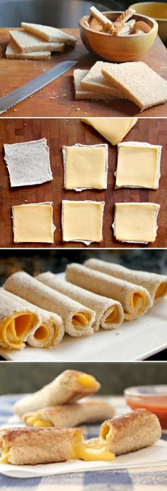 Grilled Cheese Rolls--perfect for dipping in tomato soup! Grilled Cheese Rolls, Grilled Cheese Sticks, Microwave Grilled Cheese, Mozzarella Sticks, Cheese Rolling, Kid Snacks, Baby Snacks, Football Snacks, Lunches