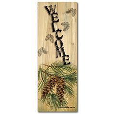 WGIGALLERY 412 Welcome Pine Cone Wooden Wall Art ** Details can be found by clicking on the image.