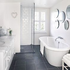 renovated white bathroom (via housetohome) - my ideal home. - Fox Home Design Grey Flooring, Laundry In Bathroom, Slate Bathroom Floor, Grey Bathroom Floor, Slate Flooring, White Bathroom, Slate Bathroom, Bathrooms Remodel, Bathroom Design