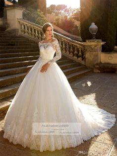Modesto de los vestidos de novia de encaje del hombro de manga larga de cristal de la princesa de la correa de Tulle vestido de novia vestido de novia más vestidos de novia