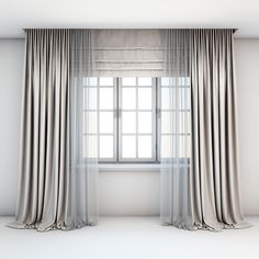 Light beige curtains straight to the floor with a tulle-trimmed Roman blinds and window layouts. Light beige curtains straight to the floor with a tulle-trimmed Roman blinds and window layouts. Unique Curtains, Custom Drapes, Modern Curtains, Modern Roman Blinds, Vintage Curtains, Beautiful Curtains, Living Room Decor Curtains, Home Curtains, Blinds Curtains