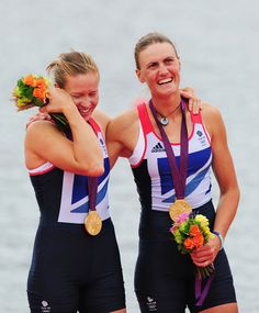 Helen Glover and Heather Stanning of Great Britain celebrate with their gold medals during the medal ceremony after the Women's Pair Final A on Day 5 of the London 2012 Olympic Games at Eton Dorney on August 1, 2012 in Windsor, England.