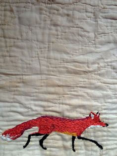 [][][] embroidery by Mandy Pattullo. Its been decided: baby peach's spirit animal is a fox.