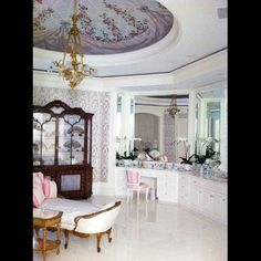 Eccelestone bath in the days of Candy Spelling including Baccarat chandelier