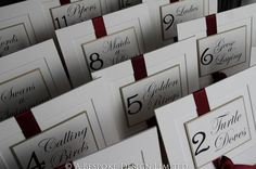 12 Days of Christmas Table Cards. I MUST do this.