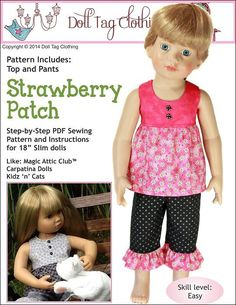 Pixie Faire Doll Tag Clothing Strawberry Patch Doll Clothes Pattern for 18 inch Slim Dolls Such As Kidz 'n Cats Dolls - PDF Doll Clothes Patterns, Doll Patterns, Clothing Patterns, My American Girl Doll, American Girl Clothes, Strawberry Patch, Strawberry Picking, Toddler Skirt, Cat Doll