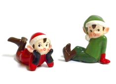 Amazon.com: Retro Vintage Style Christmas Elf Figurines-Red and Green-Set of Two: Home & Kitchen
