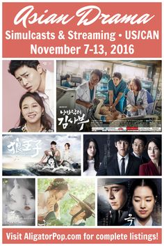 Asian dramas with licensed, English-subbed simulcasts (U.S., Canada) for Nov. 7-13, 2016. Premiere of K-drama Romantic Doctor, Teacher Kim, plus the debut of T-drama Life Plan A and B (and more), and the finales of K-dramas Jealousy Incarnate and The K2. #kdrama #jdrama #tdrama #cdrama #hkdrama #streaming #simulcasts