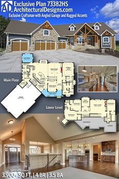 New home Design - Plan Exclusive Craftsman with Angled Garage and Rugged Accents. Craftsman House Plans, New House Plans, Dream House Plans, House Floor Plans, My Dream Home, Craftsman Homes, Craftsman Farmhouse, Craftsman Style, Dream Houses
