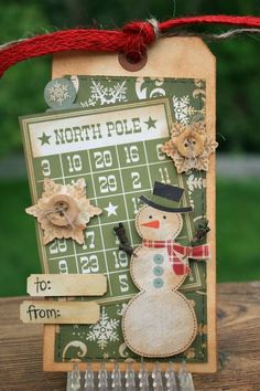 Vintage Snowman Tag...with bingo card...Christmas Tag #1.
