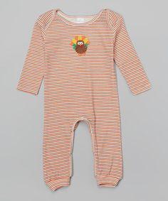Another great find on #zulily! Ivory & Orange Harvest Stripe Turkey Playsuit - Infant #zulilyfinds