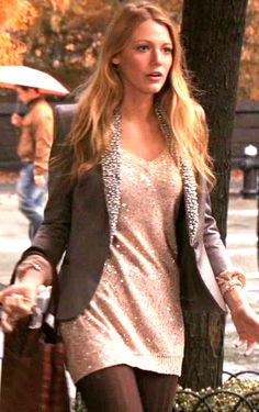 GG S4E9 (The Witches of Bushwick): Serena van der Woodsen in Stella McCartney - cool way to wear a sparkly dress during the day