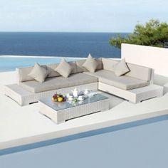 Salon de jardin résine tressée gris forme cubique http://www ...