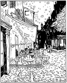 Free coloring page coloring-adult-van-gogh-le-cafe-de-nuit. coloring-adult-van-gogh-le-cafe-de-nuit