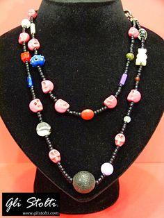 """Collana a due fili in vari materiali (vetro soffiato, pietra lavica, pietre dure, osso, etc.) """"Baphomet"""". Vai al link per tutte le info: http://glistolti.shopmania.biz/compra/collana-teschi-baphomet-445 Gli Stolti Original Design. Handmade in Italy. #glistolti #moda #artigianato #madeinitaly #design #stile #roma #rome #shopping #fashion #handmade #style #bijoux #teschi #skull"""