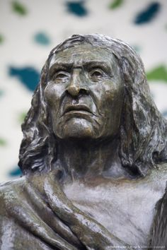 Bust of Chief Seattle in Pioneer Square, Seattle, Washington State.