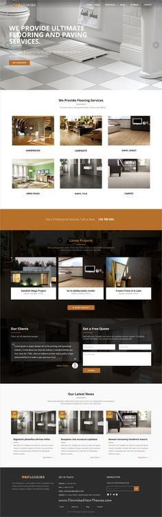 Flooring is clean and modern design responsive #HTML5 template for #paving and #tiling services website to live preview & download click on Visit