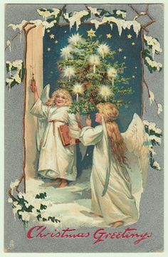 Little angels with lighted tree Tuck christmas postcard