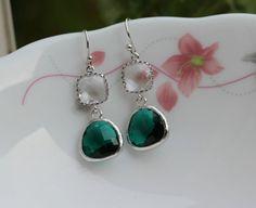 clear drop earrings ,Emerald green earring  , bridemaids earring ,