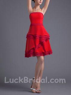 Affordable Short Layered Evening Dress Sleeveless Chiffon Prom Dress